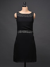 Boat Neck Sleeveless Black Dress - Eavan