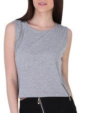 Side Zip Detailed Sleeveless Knit Top - Sugar Her