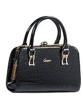 Black Textured Glossy Handbag - Alonzo