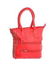 Red Embellished Zipper Detail Handbag - Alonzo