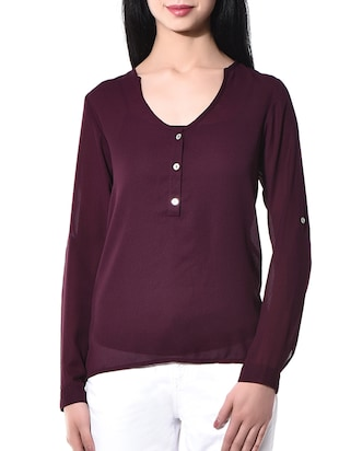wine poly georgette top