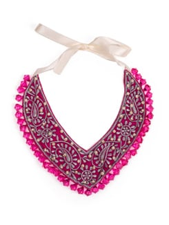Maharani V Shaped Bib Necklace In Pink And Silver - Xx Syndrome