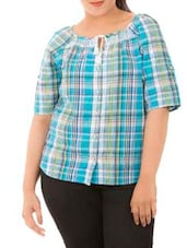 Blue Cotton Checks Top - LastInch