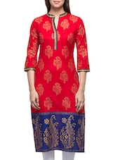 Red  Cotton Block Printed Kurta - By