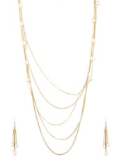 Beads Studded Metal Alloy  Necklace Set - Siyora