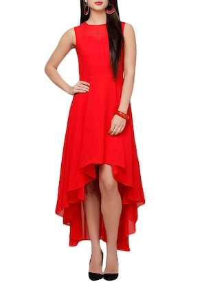 red georgette aline dress