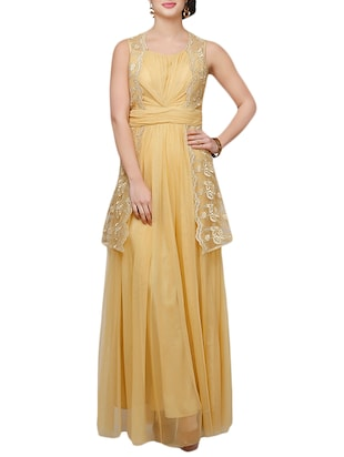 beige net aline dress