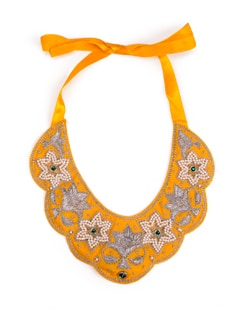 Sunny Yellow Moti And Silver Flower Bib Necklace - Xx Syndrome