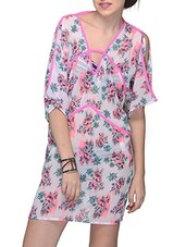 Floral Printed Polyester Cover Up - Citypret