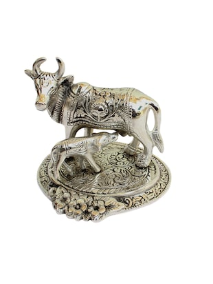 Craft Traditional Rajasthani Handicraft Oxidised Metal Silver Metal Cow and Calf Figurine Showpiece