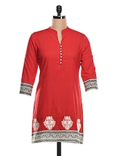 Red Embroidered Border Cotton Kurti - KAJJALI