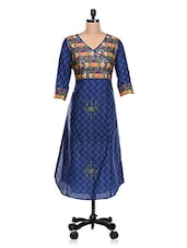 Overlap Neck Ethnic Printed Cotton Kurta - KAJJALI