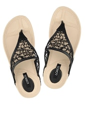 Black Lace Flat Slip Ons - Lord's