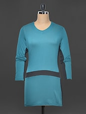 Teal Blue And Black Color Blocked Dress - Kaaryah