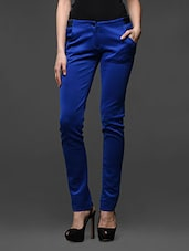 Royal Blue Poly Knit Trousers - Kaaryah