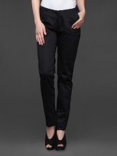 Black Cotton Satin Lycra Formal Trousers - Kaaryah
