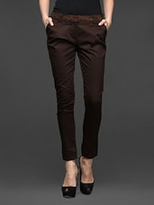 Brown Cotton Lycra Formal Trousers - Kaaryah
