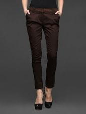 Brown Cotton Lycra Formal Trousers - Kaaryah