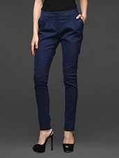 Navy Blue Cotton Polyester Lycra Trousers - Kaaryah