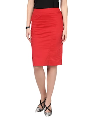 Red Cotton  Polyester Lycra  Slim Fit Skirt With Hook And Eye Closure