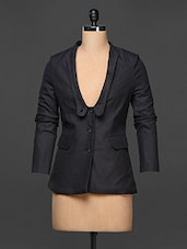 Charcoal Grey Full Sleeve Formal Blazer - Kaaryah
