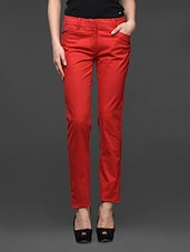 Red Straight Fit Formal Trousers - Kaaryah