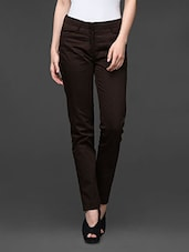 Brown Straight Fit Formal Trousers - Kaaryah