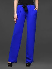 Royal Blue Pleated Wide Leg Trousers - Kaaryah