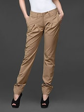Khaki Pleated Straight Fit Formal Trousers - Kaaryah