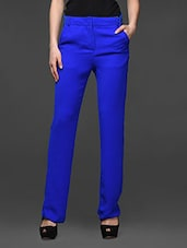 Royal Blue Wide Leg Formal Trousers - Kaaryah