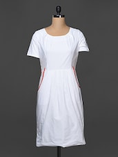 White Cotton Dress With Pleating Detail - Kaaryah