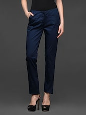 Navy Blue Straight Fit Formal Trousers - Kaaryah