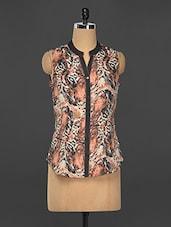 Tiger Printed Sleeveless Shirt - Kaaryah
