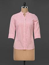 Pink Striped And Pleat Detailed Formal Shirt - Kaaryah