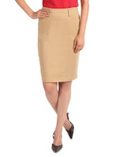 Brown Cotton Satin And Lycra  Pencil Fit Skirt - By