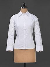 White Pintuck Yoke Detail Formal Shirt - Kaaryah