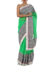 Green & Golden Bordered With Handwork Saree - Bandhni