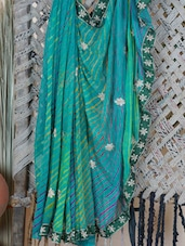 Lehariya Saree With Hand Work - Lazza