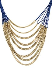 Multi Strand Long Chain Necklace In Blue And Gold - Kamz