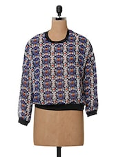 Printed Polyester Round Neck Top - Oxolloxo