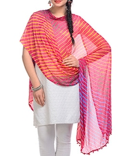 Yellow, Red, Blue Chiffon Leheria Dupatta - By