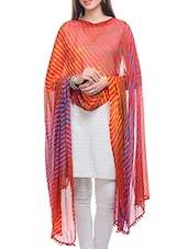 Red, Yellow, Blue Chiffon Leheria Dupatta - By