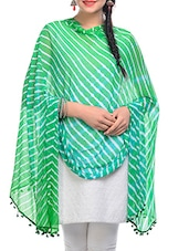 Green, White Chiffon Leheria Dupatta - By