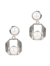 Silver Metal Pearl Drop Earrings - YOUSHINE