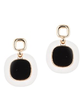 Metal White & Black Drop Earrings - YOUSHINE