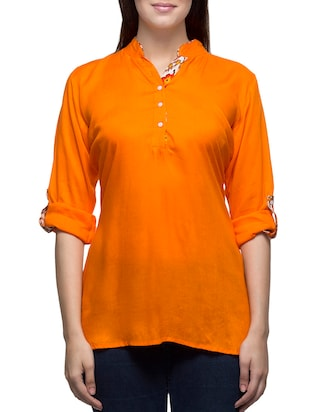 orange rayon regular top