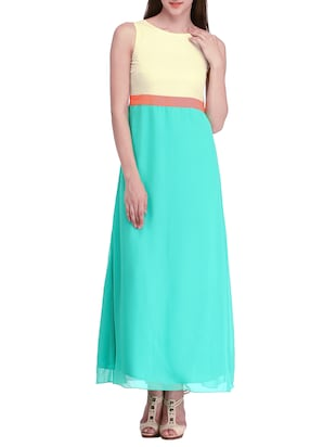blue, yellow georgette dress