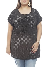 Cut-Out Front Panel Cotton Top - PLUSS