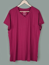 Wine Plain V-neck Cotton T-shirt - PLUSS