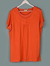 Orange Plain Cotton Knit Top - PLUSS